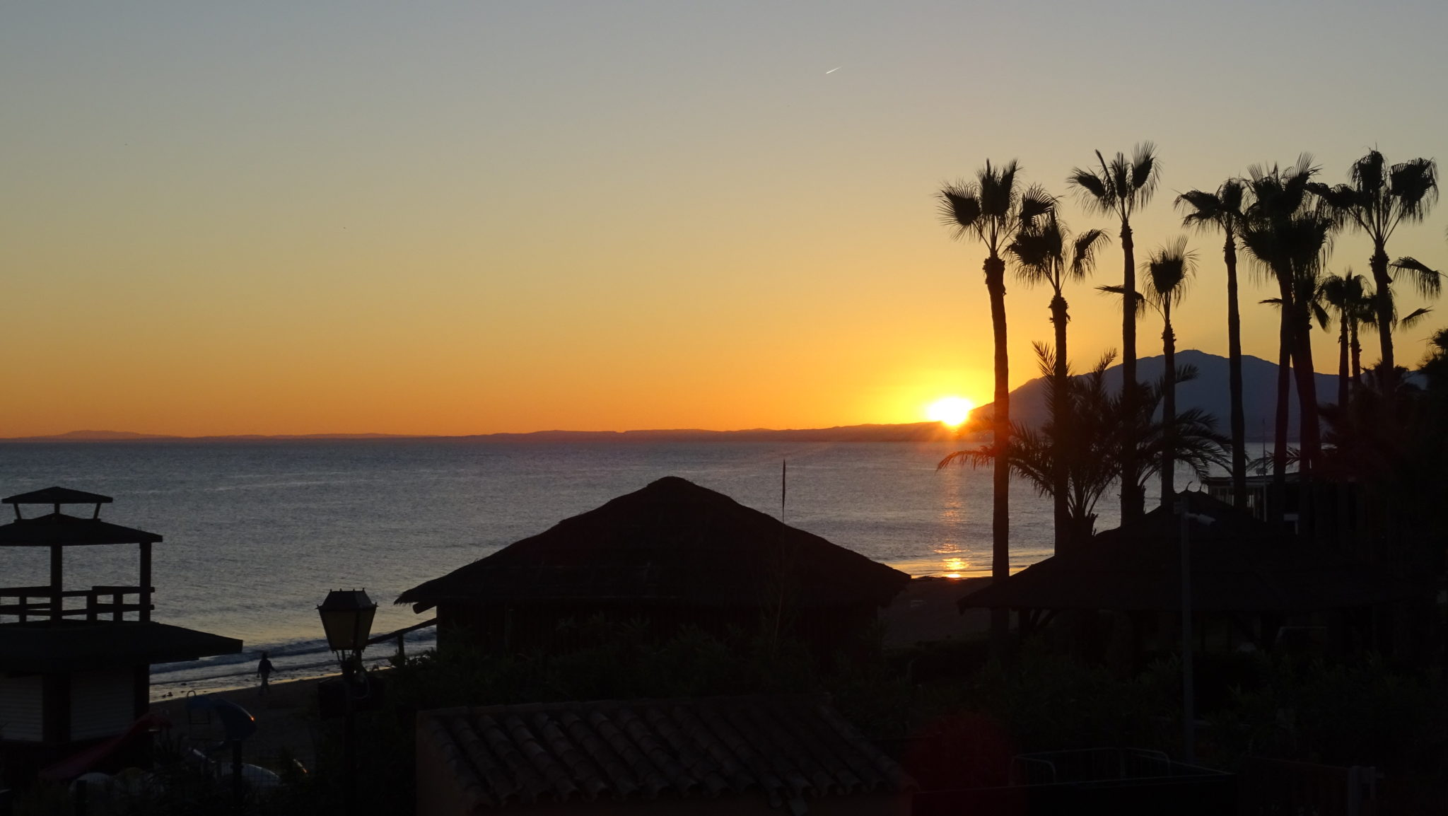 Sunset across the sea from Marriott Beach Resort Marbella Spain